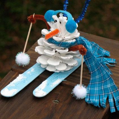 Snowman Pinecone Craft